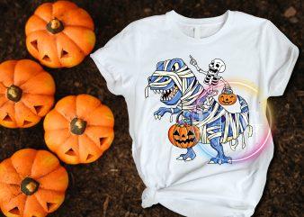Dinosaur T rex Mummies Costume Skull Pumpkin Halloween T shirt design