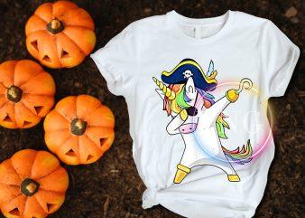 Unicorn Dabbing Pirates Costume Halloween Cool design T shirt