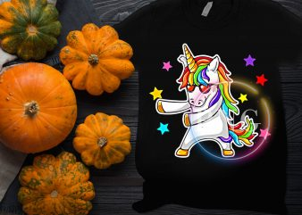 Unicorn Dabbing Rainbow Colorful Cool Design T shirt