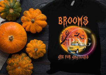 Brooms Are for Amateurs Witches use School Bus T shirt Costume Halloween