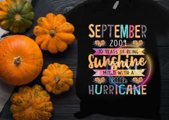 September Birthday Girl – September 2009 10 Years of being sunshine litte hurricane t shirt template vector