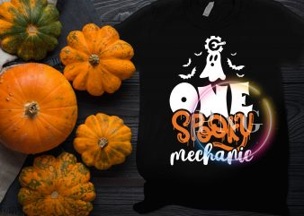 Ghost One Spooky Mechanic Halloween Costume T shirt design
