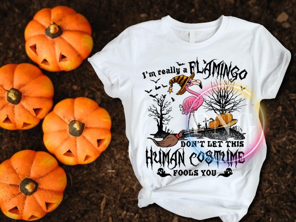 I'm really a Flamingo Don't let this Human Costume Fools you Tshirt Halloween