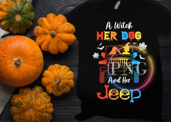 A witch her dog and her jeep halloween costume t shirt design