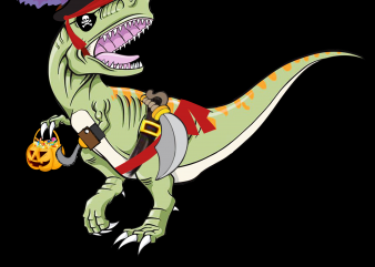 Pirate png – Pirate Dinosaur Pumpkin t shirt illustration