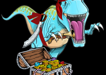 Pirate png – Dinosaur Pirate t shirt illustration