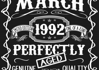 Birthday Tshirt Design – Age Month and Birth Year – March 1992 27 Years
