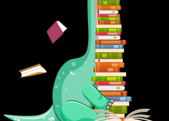 Reading png file – Dinosaur reading book t shirt design online