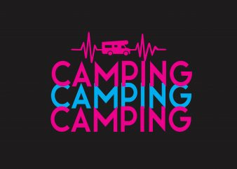 Camping Heartbeat t shirt vector file