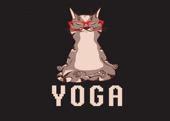 Cat Yoga t shirt vector file