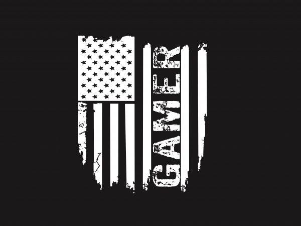 Gamer Flag t shirt design template