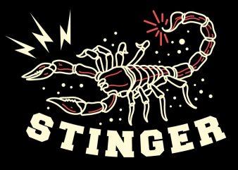 stinger scorpion tshirt design