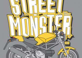 STREET MONSTER t shirt template vector