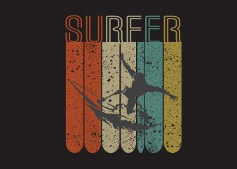 Surfer t shirt template vector