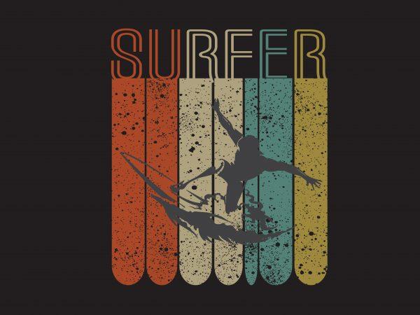 Surfer t shirt template vector