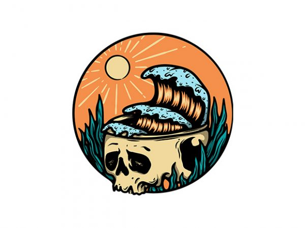 Skull and Wave t shirt template vector