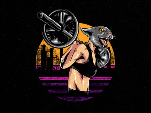cat gym Graphic t-shirt design