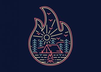 Camp Fire t shirt vector file