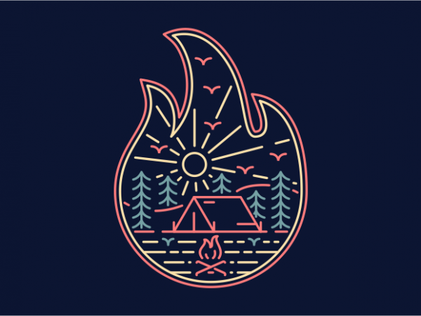 Camp Fire t shirt vector file
