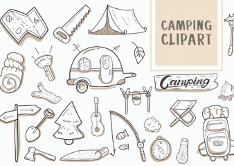 Camping Clipart Icons Set Bundle hand drawn Vector t shirt design