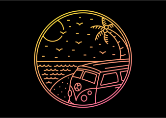 Combi Beach Trip t shirt vector file