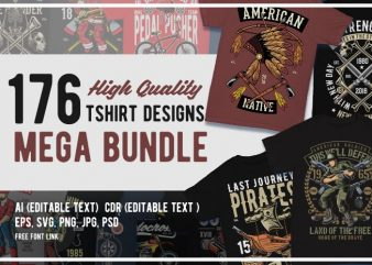 176 Graphic Tshirt Designs Mega Bundle
