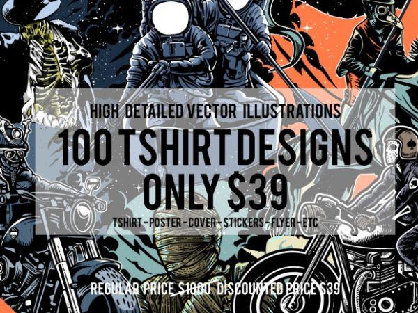 100 Tshirt Designs Big Bundle