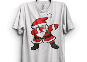 Dabbing Santa Claus Christmas t shirt vector illustration