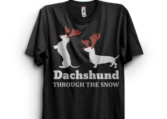 Dachshund Through The Snow Funny Ugly Sweater Christmas t shirt vector illustration