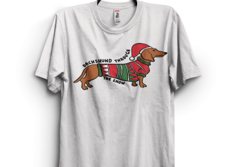 Dachshund through the snow funny christmas t shirt vector illustration