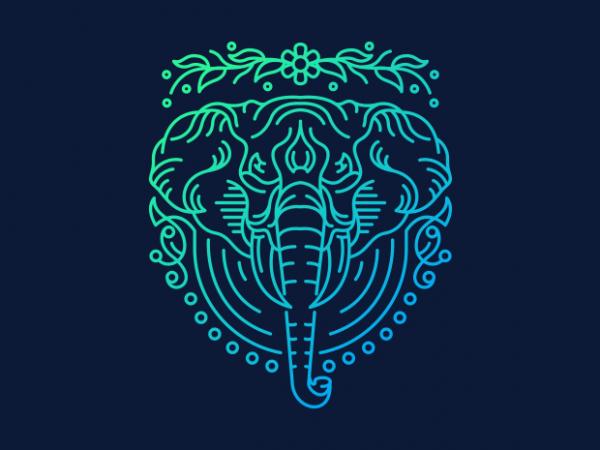 Elephant Lines vector clipart