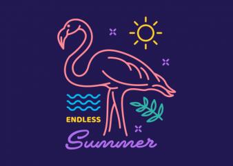 Flamingo Endless Summer t shirt graphic design