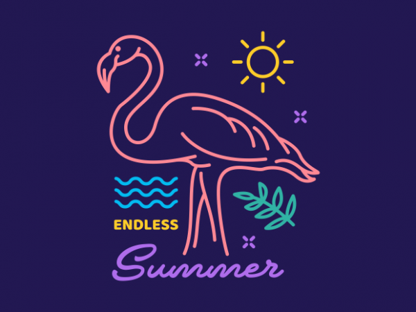 Flamingo Endless Summer t shirt graphic design