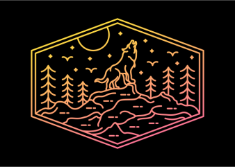 Full Wolf Moon t shirt graphic design