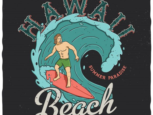 Hawaii beach vector t-shirt design