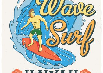 Wave surf vector t-shirt design