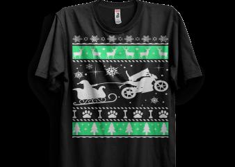 Motocross Cat Santa Sleigh t shirt designs for sale