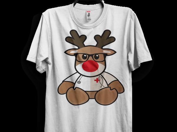 Christmas Reindeer Png.Nurse Christmas Reindeer T Shirt Vector Artwork