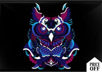 Polynesian Owl t shirt illustration