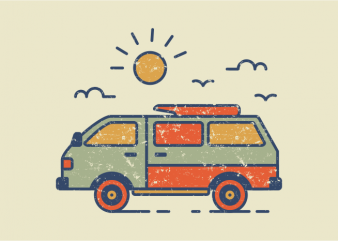 Retro Travel Van t shirt design online