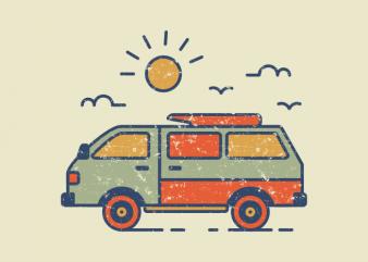 Retro Travel Van t shirt design online