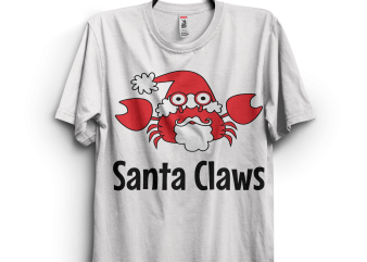 Santa Claws Crab t shirt template vector