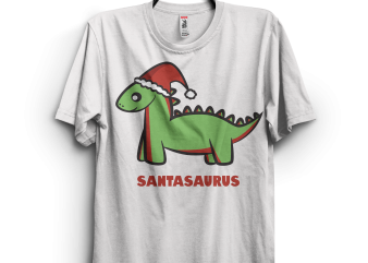 Santasaurus t shirt template vector