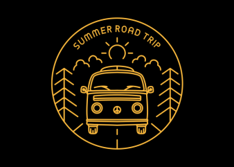 Summer Road Trip t shirt template vector
