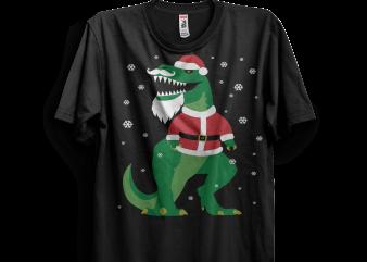 T-Rex Santa Funny Christmas t shirt designs for sale