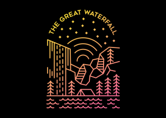 The Great Waterfall t shirt designs for sale