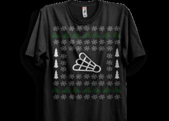 Ugly Christmas Badminton t shirt vector graphic