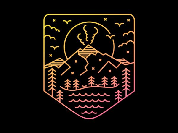 Volcano Lines t shirt vector art