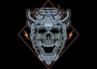skull machine Vector t-shirt design