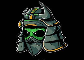 alien samurai t shirt vector